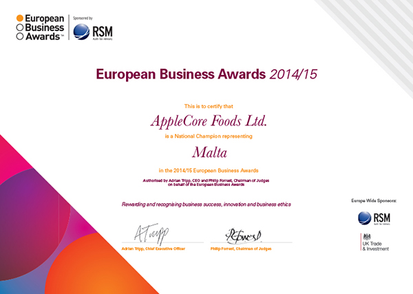Certificate AppleCore Foods Ltd